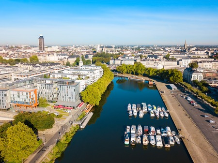 Boats and yachts on the Erdre river dock in Nantes city, France