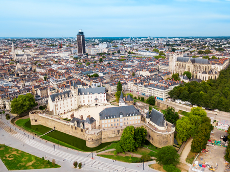 Nantes aerial panoramic view. Nantes is a city in Loire-Atlantique region in France