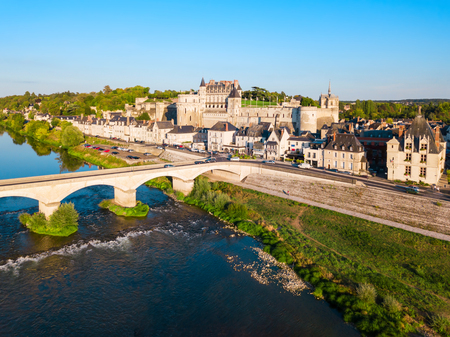 Chateau d'Amboise aerial panoramic view. It is a chateau in Amboise city, Loire valley in France. Stock Photo