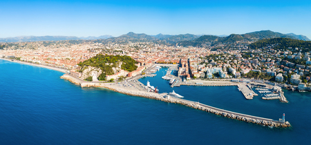 Nice aerial panoramic view. Nice is a city located on the French Riviera or Cote d'Azur in France. Stock fotó