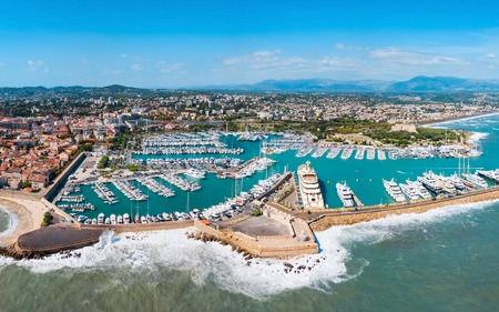 Antibes port aerial panoramic view. Antibes is a city located on the French Riviera or Cote d'Azur in France. Stock fotó