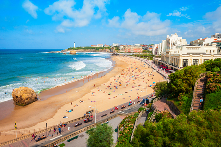 La Grande Plage aerial view from viewpoint, a public beach in Biarritz city on the Bay of Biscay on the Atlantic coast in France Stock Photo