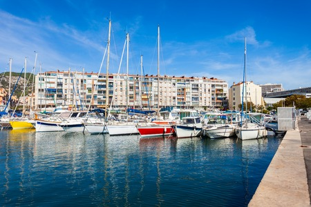 Yachts and boats in the Toulon port in Cote dAzur provence in sothern France Stock Photo