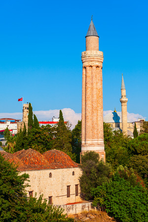 The Alaaddin Mosque or Yivli Minare Mosque in Antalya old town or Kaleici in Turkey Stock Photo