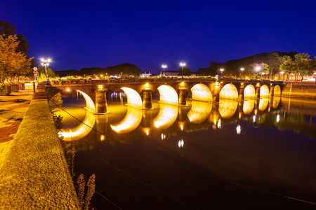 Verdun Bridge in Angers at night. Angers is a city in Loire Valley, western France.