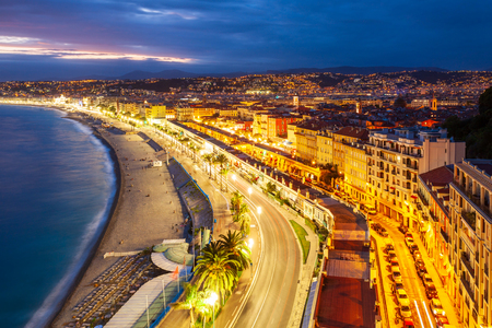 Nice aerial panoramic view. Nice is a city located on the French Riviera or Cote d'Azur in France. Standard-Bild - 122049138