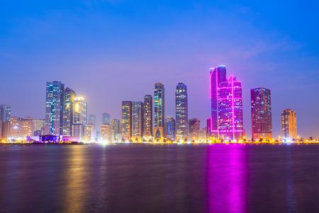 Sharjah city centre skyline in United Arab Emirates or UAE