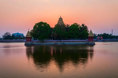 Vandiyur Mariamman Temple or Maariamman Kovil Teppakulam in Madurai city in Tamil Nadu in India at sunset