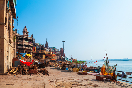 Manikarnika ghat at the Ganges river is located in Varanasi city, Uttar Pradesh state, North India Stock Photo