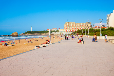 BIARRITZ, FRANCE - SEPTEMBER 18, 2018: Promenade at the La Grande Plage, public beach in Biarritz city on the Bay of Biscay on the Atlantic coast in France