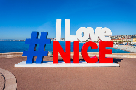 NICE, FRANCE - SEPTEMBER 27, 2018: I Love Nice sign located in the Nice city in southern France Standard-Bild - 122441748