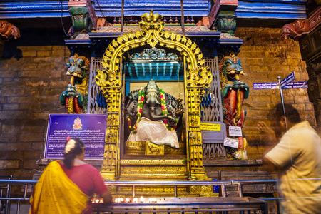 MADURAI, INDIA - MARCH 23, 2012: Ganesha murti inside Meenakshi Temple, a historic hindu temple in Madurai city in Tamil Nadu in India