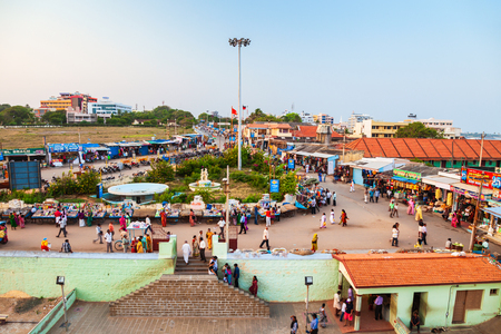KANYAKUMARI, INDIA - MARCH 20, 2012: Pilgrims in Kanyakumari holy indian city aerial panoramic view in Tamil Nadu state in India Editorial