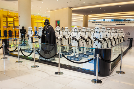 DUBAI, UAE - FEBRUARY 25, 2019: Star Wars character Darth Vader and Stormtroopers in Dubai Mall in UAE Editorial