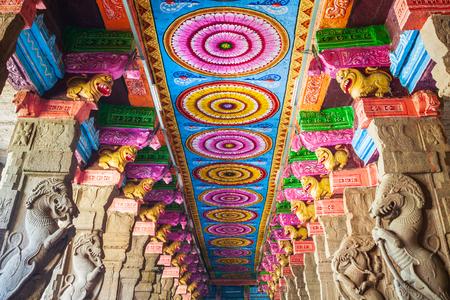MADURAI, INDIA - MARCH 23, 2012: The thousand pillar hall inside Meenakshi Temple, a historic hindu temple in Madurai city in Tamil Nadu in India