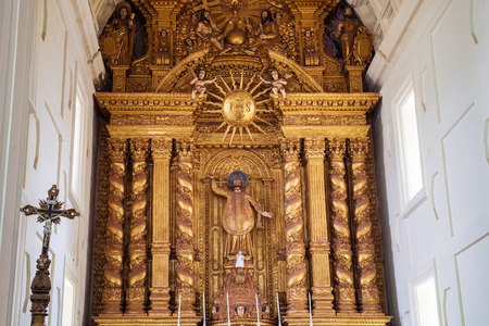 GOA, INDIA - FEBRUARY 28, 2012: Catholic church interior in Old Goa in India