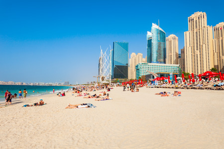 DUBAI, UAE - FEBRUARY 25, 2019: JBR or Jumeirah Beach Residence is a waterfront community located in Dubai Marina in UAE 報道画像