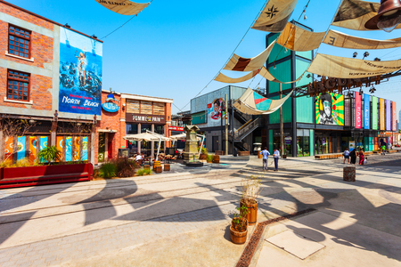 DUBAI, UAE - FEBRUARY 27, 2019: La Mer or Jumeira beach town is a public beach in Dubai city in UAE Editorial
