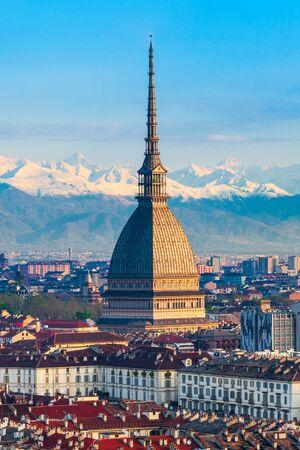 The Mole Antonelliana aerial panoramic view, a major landmark building in Turin city, Piedmont region of Italy