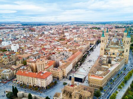 Cathedral Basilica of Our Lady of the Pillar aerial panoramic view, Zaragoza city in Aragon region of Spain Banque d'images