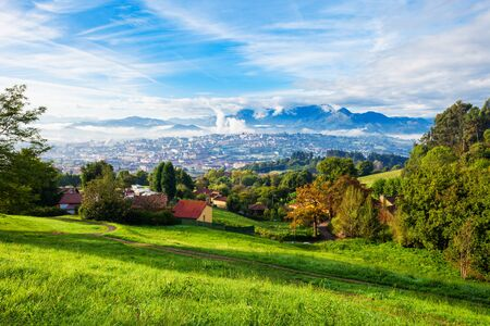 Oviedo city aerial panoramic sunset view from the Santa Maria del Naranco Church viewpoint near Oviedo, Spain Banque d'images