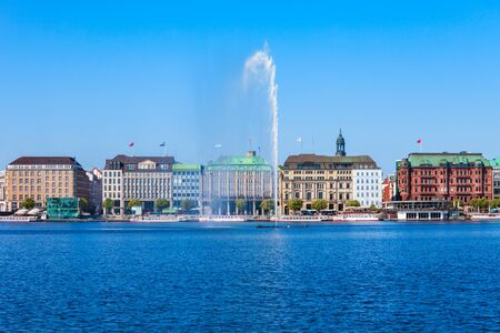 Alster Fountains in the centre of Hamburg city in Germany
