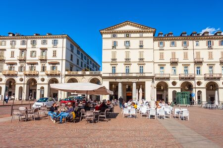 TURIN, ITALY - APRIL 08, 2019: Piazza Vittorio Veneto is a main square in Turin city, Piedmont region of northern Italy Editorial