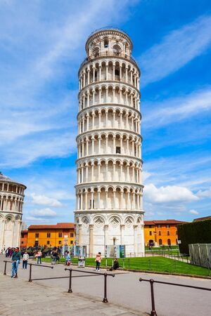 PISA, ITALY - APRIL 06, 2019: The Pisa Leaning Tower at the Piazza dei Miracoli or the Square of Miracles in Pisa, Italy