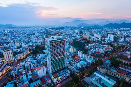 Nha Trang city skyline aerial panoramic view at sunset in south Vietnam