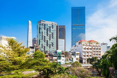 Ho Chi Minh city skyline aerial panoramic view. Ho Chi Minh is the largest city in Vietnam. Stock Photo