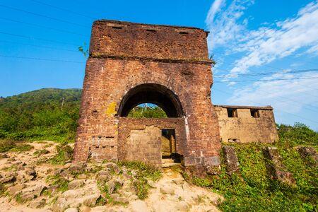 Old buildings at the Hai Van Quan pass in Danang city in Vietnam
