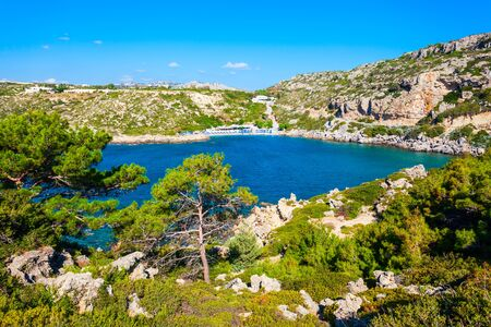 Ladiko beach and Anthony Quinn Bay aerial panoramic view in Rhodes island in Greece