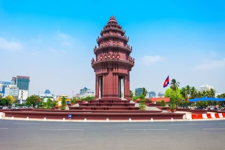 The Independence Monument or Vimean Ekareach in Phnom Penh city, capital of Cambodia 免版税图像