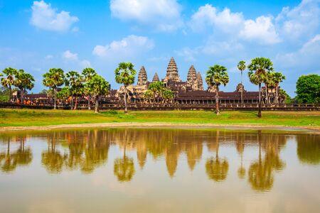 Tempio di Angkor Wat a Siem Reap in Cambogia. Angkor Wat è il più grande monumento religioso del mondo.