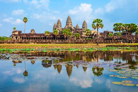Angkor Wat temple in Siem Reap in Cambodia. Angkor Wat is the largest religious monument in the world. Stockfoto