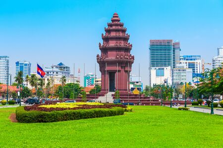 The Independence Monument or Vimean Ekareach in Phnom Penh city, capital of Cambodia 版權商用圖片