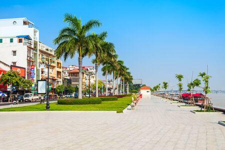 PHNOM PENH, CAMBODIA - MARCH 24, 2018: Promenade at the Riverside Park in Phnom Penh in Cambodia Editorial