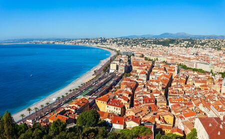 Nice aerial panoramic view. Nice is a city located on the French Riviera or Cote dAzur in France.