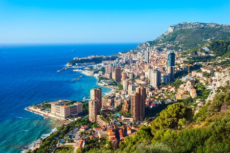 Monte Carlo, Monaco aerial panoramic view. Monaco is a country on the French Riviera near France in Europe. 版權商用圖片