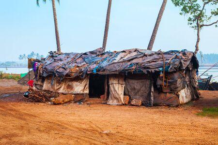 Slum hut is a home of poor people in India