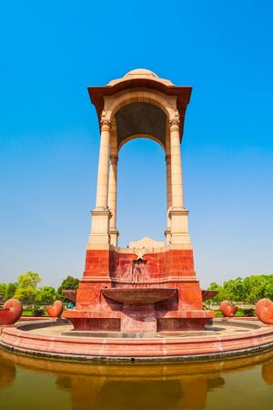 India Gate and Canopy is a war memorial located at the Rajpath in New Delhi, India 写真素材