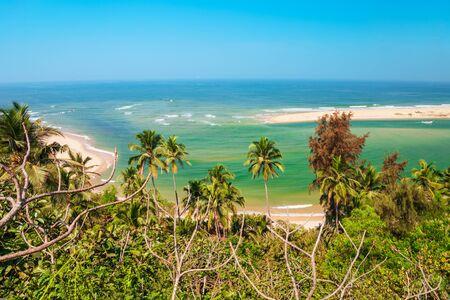 Goa beach aerial panoramic view in India