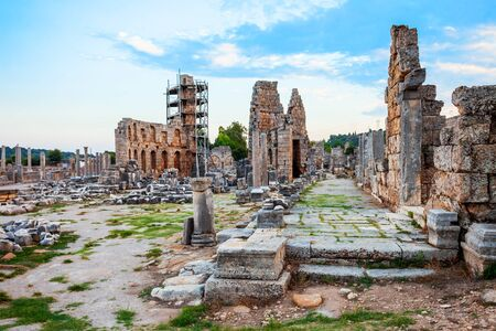 Perge was an ancient Anatolian city, now located near the Antalya city in Turkey 写真素材 - 129469782