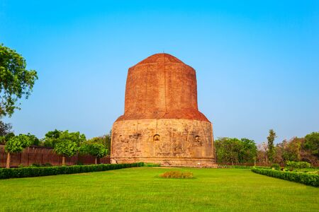 Dhamek or Dhamekh Stupa is located at Sarnath, near Varanasi in Uttar Pradesh state in India