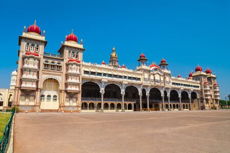 Mysore Palace is a historical palace and a royal residence at Mysore in India 版權商用圖片