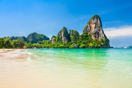 Beauty beach with yellow sand and crystal clear water in Thailand Archivio Fotografico - 129469599