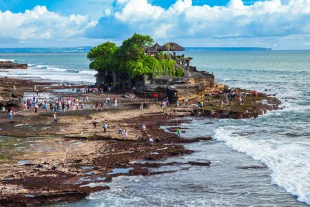 Pura Tanah Lot Temple and rock formation in Bali island in Indonesia