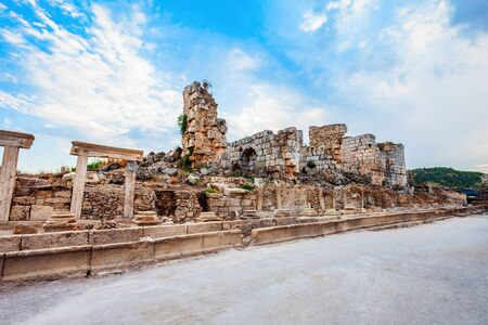 Perge was an ancient Anatolian city, now located near the Antalya city in Turkey 写真素材 - 129469471