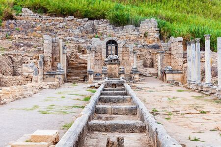 Perge was an ancient Anatolian city, now located near the Antalya city in Turkey Stock Photo