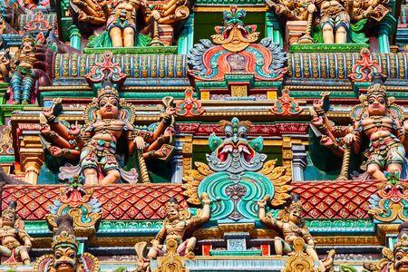 Décor du temple Meenakshi Amman, un temple hindou historique situé dans la ville de Madurai au Tamil Nadu en Inde